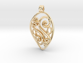 Swirl Pendant in 14k Gold Plated Brass