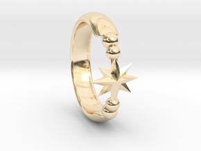 Ring of Star 15.3mm in 14k Gold Plated Brass