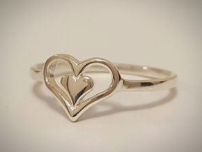 Heart Ring Size 5 in Polished Silver