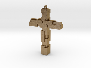 Block Cross in Polished Gold Steel