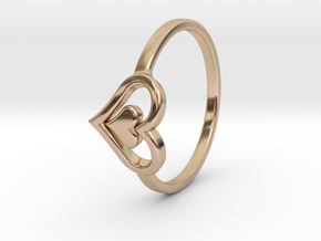 Heart Ring Size 5.5 in 14k Rose Gold Plated Brass