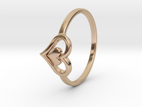 Heart Ring Size 7 in 14k Rose Gold Plated Brass