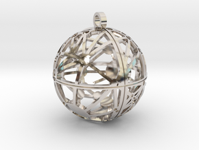 Craters of Ceres Pendant in Rhodium Plated Brass
