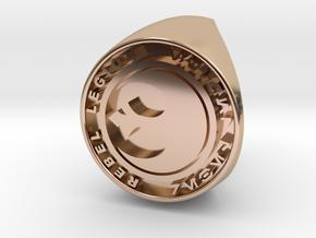 Custom Signet Ring Rebel Legion Size 6 in 14k Rose Gold Plated Brass