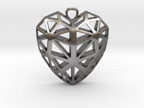 HEART pendant in Polished Nickel Steel