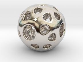 hydrangea ball 02 in Rhodium Plated Brass
