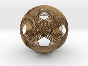 Icosahedron vertex symmetry weave in Raw Brass