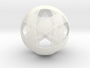 Icosahedron vertex symmetry weave in White Processed Versatile Plastic