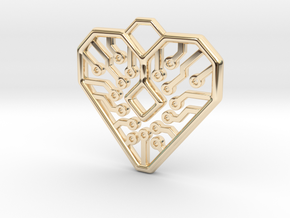 Heart Circuit Pendant 1 in 14k Gold Plated Brass