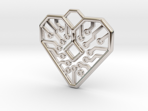 Heart Circuit Pendant 1 in Rhodium Plated Brass