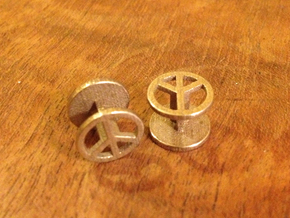 Peace Cufflink in Polished Bronzed Silver Steel