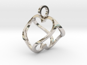 """Heart to Heart"" Pendant in Rhodium Plated Brass"