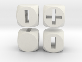 """Fudge Through"" Dice Set (4dF) in White Natural Versatile Plastic: Polyhedral Set"