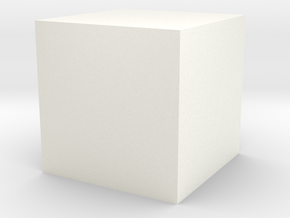 Cube-1cm-centered in White Strong & Flexible Polished