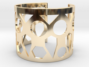 Cubic Bracelet Ø53 Mm Style A XS/2.086 inch in 14k Gold Plated Brass