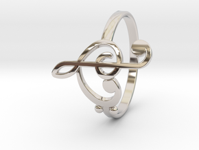 Size 8 Clefs Ring in Rhodium Plated Brass
