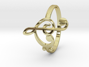 Size 7 Clefs Ring in 18k Gold Plated Brass