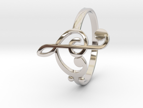 Size 7 Clefs Ring in Rhodium Plated Brass