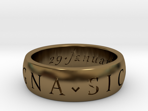Size 6 Sir Francis Drake, Sic Parvis Magna Ring in Polished Bronze