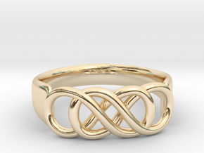 Double Infinity Ring 22.2mm V2 in 14k Gold Plated Brass