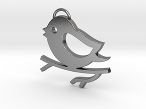 Bird on a Branch Pendant in Polished Silver