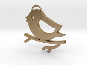 Bird on a Branch Pendant in Polished Gold Steel