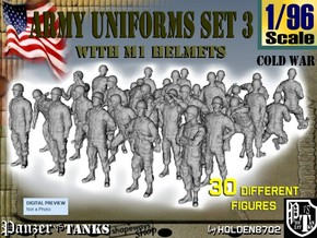 1-96 Army Modern Uniforms Set3 in Smooth Fine Detail Plastic