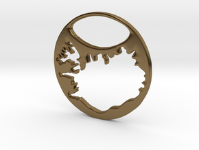 Key ring - Iceland in Polished Bronze