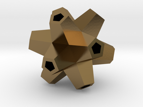 Urchin Polyhedron Pendant in Polished Bronze