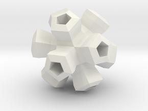 Cauliflower Polyhedron Pendant in White Natural Versatile Plastic