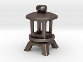 Japanese Stone Lantern B: Tritium (All Materials) in Polished Bronzed Silver Steel