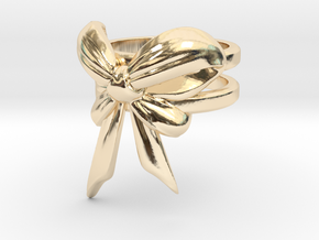 Bow Ring (S7) in 14k Gold Plated Brass