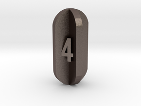 Radial Fin Dice in Polished Bronzed Silver Steel: d4