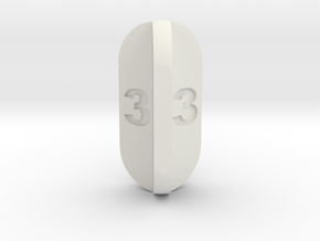 Radial Fin Dice in White Natural Versatile Plastic: d3