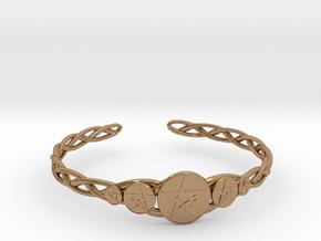 "Celtic Knot Pentacle Cuff Bracelet (2.5"" diameter) in Polished Brass"