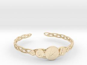 "Celtic Knot Pentacle Cuff Bracelet (3.0"" diameter) in 14k Gold Plated Brass"