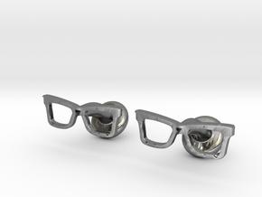 Hipster Glasses Cufflinks Origin in Fine Detail Polished Silver