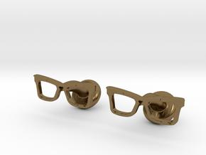 Hipster Glasses Cufflinks Origin in Polished Bronze