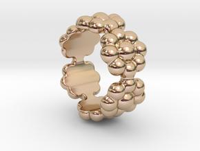 New Flower Ring 25 - Italian Size 25 in 14k Rose Gold Plated Brass