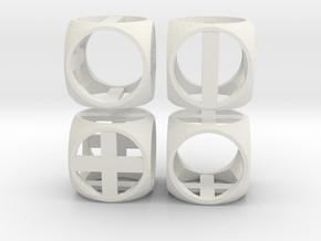 """Fudge Frame"" Dice Set (4dF) in White Natural Versatile Plastic: Polyhedral Set"