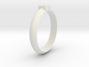 Ø18.19 Mm Design Block Arrow Ring/Ø0.716 inch in White Natural Versatile Plastic