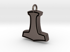 Minimalist Mjolnir Pendant in Polished Bronzed Silver Steel