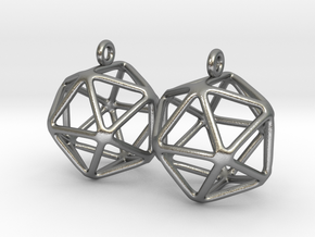 Icosahedron Earring in Natural Silver
