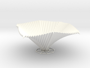 Curved Pyramid 3D V2 in White Strong & Flexible Polished