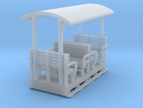 O9 2 compartment open coach with roof  in Smooth Fine Detail Plastic