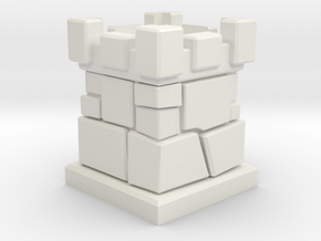 D6 Die Holder (Stone Tower) in White Strong & Flexible