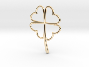 Wireframe Clover Pendant in 14K Yellow Gold