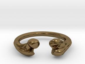 Bone adjustable Ring (Man size) in Polished Bronze