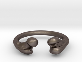 Bone adjustable Ring (Man size) in Polished Bronzed Silver Steel