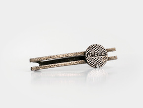 Manhattan Electric Tie Bar in Polished Bronzed Silver Steel